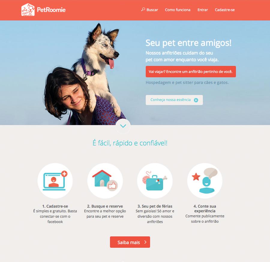 Detalhe do site PetRoomie.com.br: tecnologia para conectar